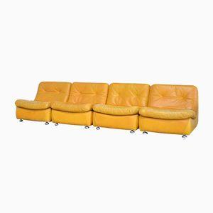 Modular Cognac Leather Sofa Set, 1970s