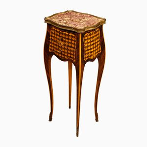 French Inlaid Side Table with Marble Top, 1950s