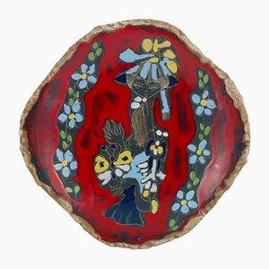 Dekorativer italienischer Mid-Century Teller aus glasierter Keramik von Paolo de Poli, 1960er