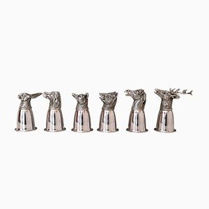 Juego de vasos de licor italianos en forma de animales bañados en plata de Gucci, años 70