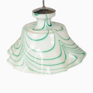 Lámpara colgante italiana vintage de vidrio opalino verde y blanco, años 60