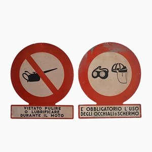 Factory Warning Signs, 1950s, Set of 2