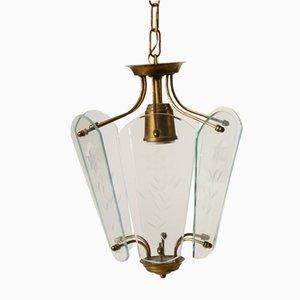 Lámpara colgante italiana vintage de vidrio y latón, años 60