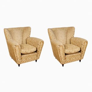 Damask Velvet Armchairs, 1950s, Set of 2