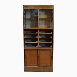 Vintage English Oak Display Cabinet