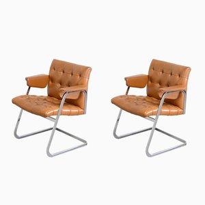 Cognacfarbene RH 305/ 304 Stühle von Robert Haussmann für de Sede, 1970er, 2er Set