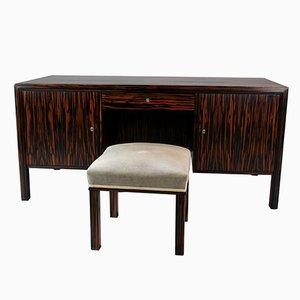 Doppelseitiger Schreibtisch & Hocker aus Makassar-Ebenholz, 1960er