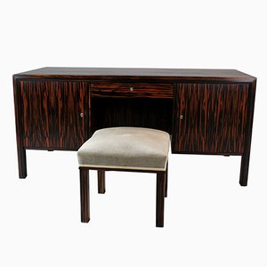 Macassar Double Side Desk & Stool, 1960s