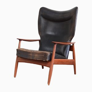 Wingback Leather Lounge Chair by K. Rasmussen for Peter Wessel, 1960s