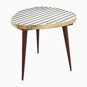 Teak Tripod Side Table with Zebra Pattern Top, 1950s