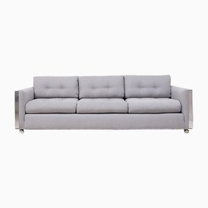 Mid-Century Grey Fabric 3-Seater Sofa, 1960s