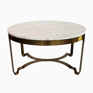 Italian Travertine & Brass Coffee Table, 1970s