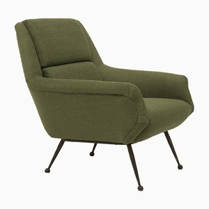 Mid-Century Green Wool Lounge Chair by Gio Ponti for Minotti