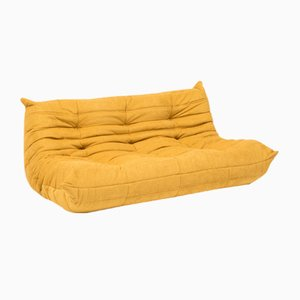 Large Yellow Fabric Togo Sofa by Michel Ducaroy for Ligne Roset, 1970s