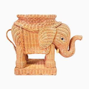 Vintage Braided Wicker Elephant Side Table, 1970s