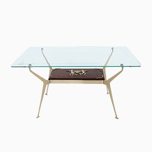 Table Basse Mid-Century en Laiton et Acajou, Italie, 1950s