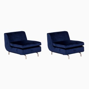 Blue Velvet Dubuffet Lounge Chairs by Rodolfo Dordoni for Minotti, 1990s, Set of 2