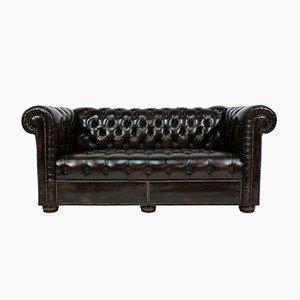 Büscheliges Loveseat-Sofa aus Leder im Chesterfield-Stil, 1970er