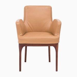 Mid-Century Esszimmerstühle aus hellbraunem Leder von Porada, 2er Set