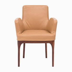 Mid-Century Tan Leather Dining Chairs from Porada, Set of 2