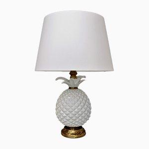 Lámpara de mesa en forma de piña de cerámica y latón, años 70