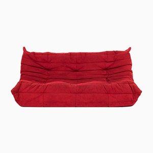 Großes rotes Togo-Sofa von Michel Ducaroy für Ligne Roset, 1970er
