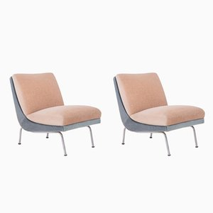 Mid-Century French 2-Tone Mohair Easy Chairs, Set of 2