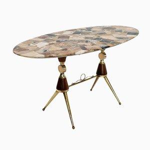 Tavolino da caffè MId-Century in marmo, ottone e mogano