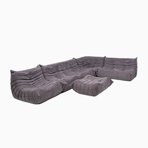 Grey Togo Modular Sofa & Footstool by Michel Ducaroy for Ligne Roset, 1970s, Set of 5