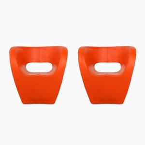 Victoria & Albert Stühle aus orangefarbenem Leder von Ron Arad für Moroso, 2005, 2er Set