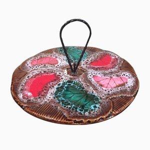 Mid-Century Vallauris Teller aus Keramik mit Metallgriff