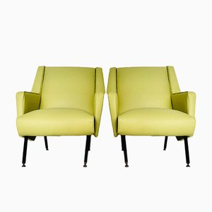 Vintage Nappa Leather Armchairs, 1970s, Set of 2