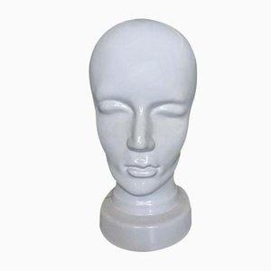 Sculpture de Tête ou Porte-Chapeau Vintage en Porcelaine Émaillée
