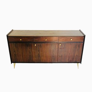 Wood & Brass Sideboard, 1960s