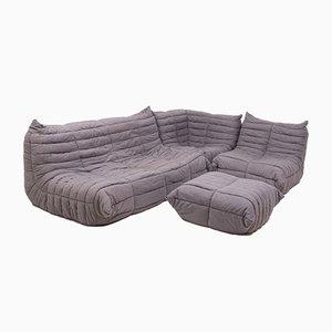 Graues modulares Togo-Sofa & Fußhocker von Michael Ducaroy für Ligne Roset
