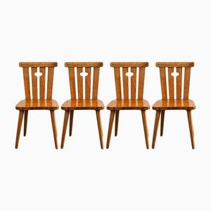 Schwedische Mid-Century Esszimmerstühle aus Pinienholz, 4er Set
