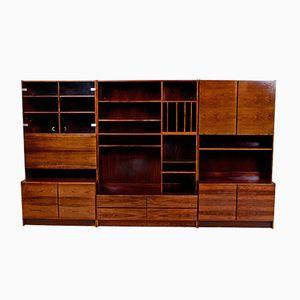 Librería modular danesa de palisandro de Brasil, años 70