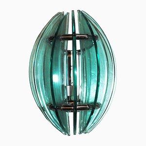 Lámparas de pared de vidrio y acero cromado de Veca, años 60. Juego de 2