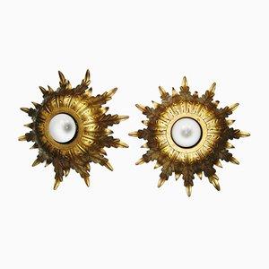 Lámparas de techo españolas Mid-Century de hierro dorado, años 60. Juego de 2