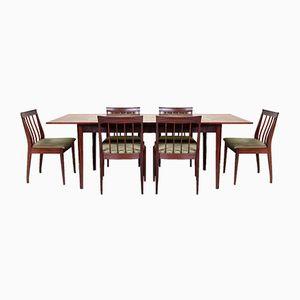Juego de mesa de comedor y seis sillas vintage, años 70