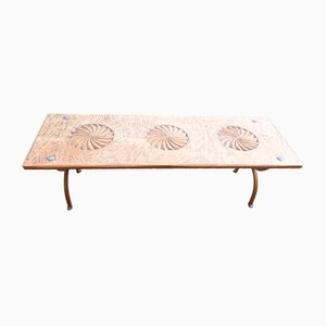 Tavolino da caffè vintage in quercia e ferro battuto