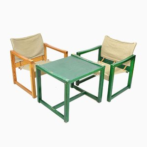 Vintage Safari Chairs & Table by Karin Mobring, 1970s