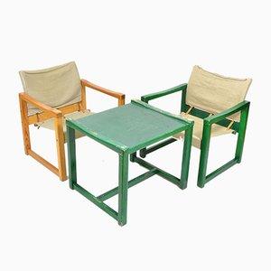 Vintage Safari Stühle & Tisch von Karin Mobring, 1970er