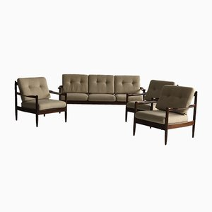 Vintage Danish Sofa & 3 Armchairs, 1960s