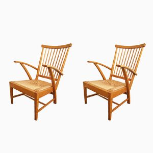 Mid-Century Oak Armchairs, Set of 2