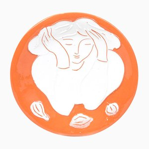 Assiette Femme avec Citrons par Pierre Boncompain, 1990s