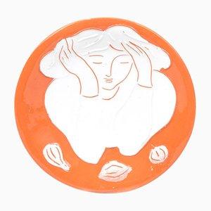 Plato con motivos de una mujer con limones de Pierre Boncompain, años 90