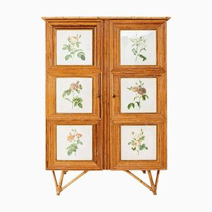 Rattan Armoire with Flower Engravings, 1960s