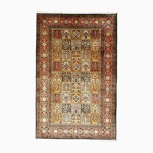 Alfombra oriental vintage de seda, años 80