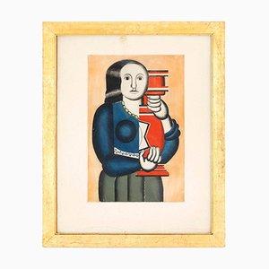 Gravure Femme avec Jar d'après Fernand Léger par Jacques Villon, 1928